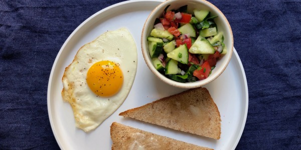 Fried Eggs with Israeli Salad