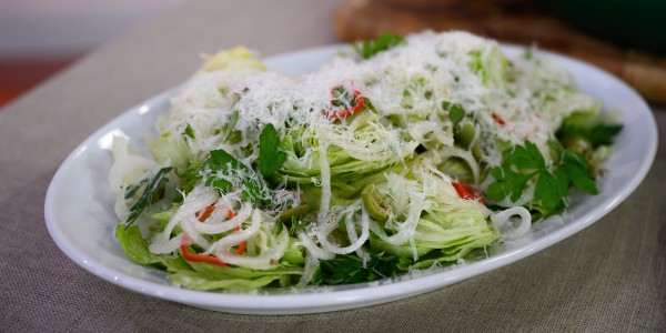 Iceberg Salad with Pecorino, Olives and Pickled Chile