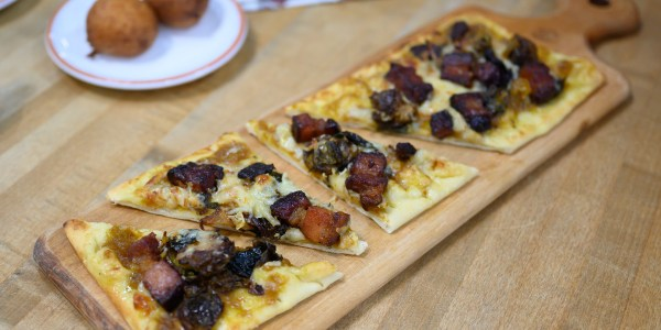Pumpkin, Brussels Sprouts and Bacon Flatbreads