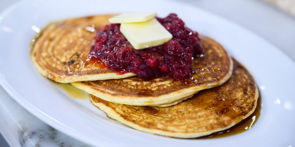 Ricotta Pancakes with Cranberry Sauce