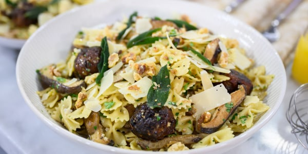Walnut and Cranberry 'Meatballs' with Mushroom and Sage Pasta