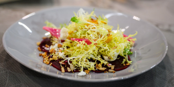 Roasted Beets with Quinoa, Frisée and Queso Fresco
