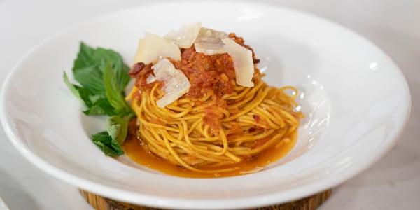 Lidia Bastianich's Pasta alla Chitarra all'Amatriciana