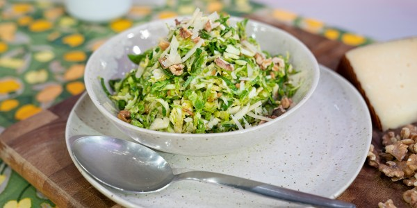 Brussels Sprouts Salad With Walnuts and Cheese