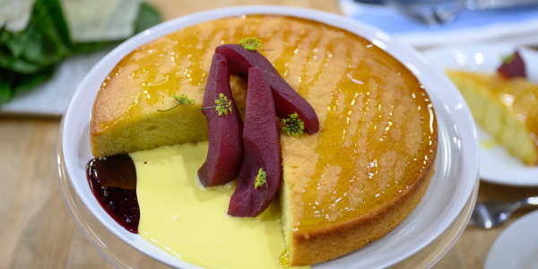 Olive Oil Cake with Lambrusco-Poached Pears