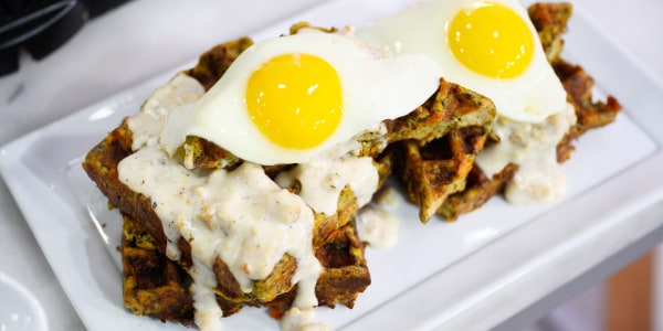 Leftover Stuffing Waffles with Sausage Gravy and Fried Eggs