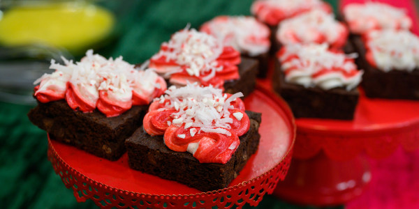 Peppermint-Frosted Chocolate Brownies with Shredded Coconut