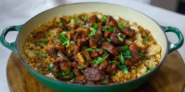 Louisiana-Style Chicken, Sausage and Pork Jambalaya