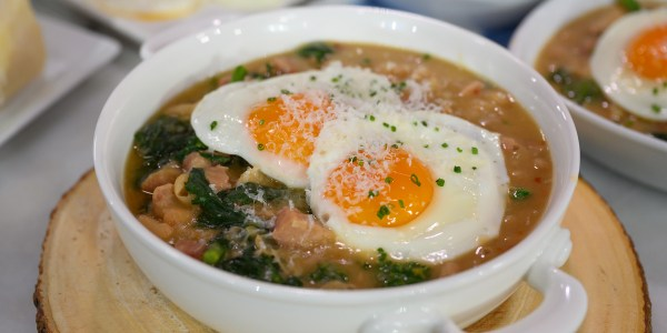 White Bean Stew with Greens, Eggs and Ham