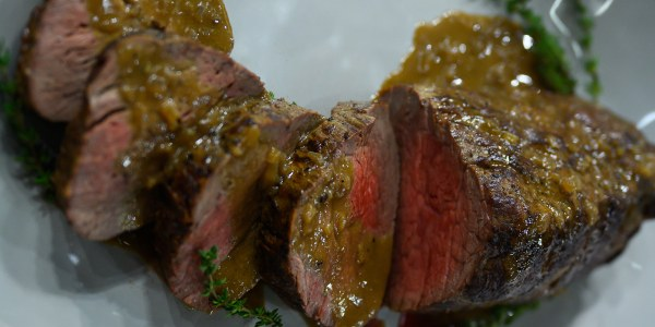 Seared Beef Tenderloin Steak with Black Pepper Pan Sauce