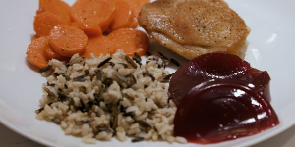 Dylan Dreyer's Baked Chicken Thighs with Wild Rice and Carrots
