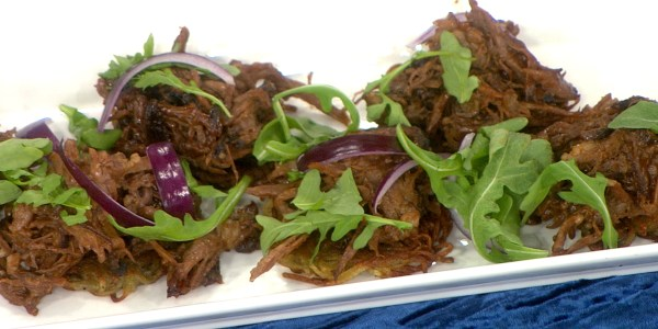 Barbecue Brisket Latke Sliders