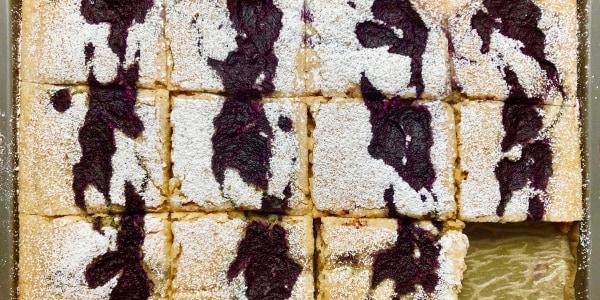 Blueberry Swirl Sheet-Pan Protein Pancakes