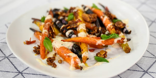 Harissa-Roasted Carrots with Spiced Yogurt