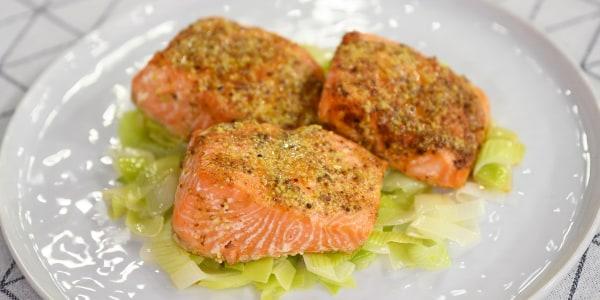 Salmon with Mustard Vinaigrette and Leeks