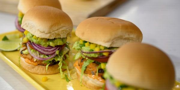 Mango-Guacamole Crunch Burgers