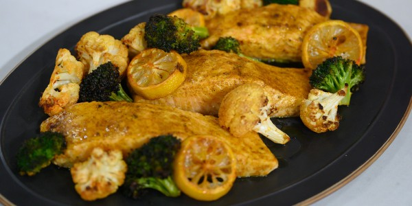 Valerie Bertinelli's One-Pan Salmon with Broccoli and Cauliflower