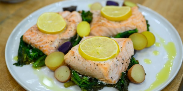 Parchment-Packet Salmon with Broccoli Rabe and Potatoes