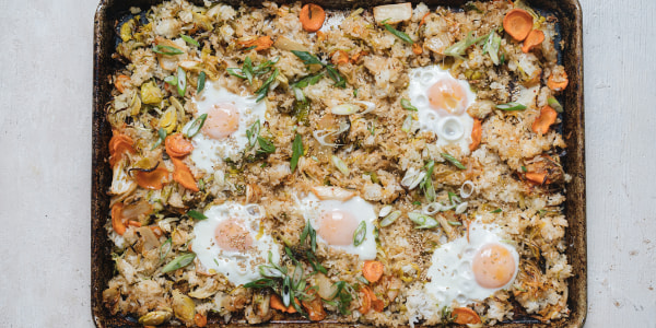 Sheet Pan Kimchi Fried Rice with Baked Eggs