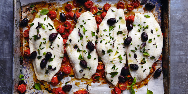Sheet Pan Flounder with Roasted Tomatoes and Black Olives