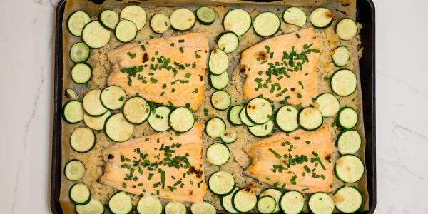 Sheet Pan Miso Lemon Salmon with Zucchini and Rice