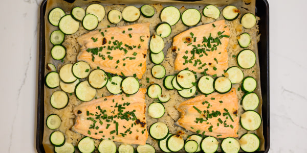 Sheet Pan Miso Lemon Salmon with Zucchini and Rice