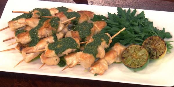 Chicken Satay with Basil Pesto