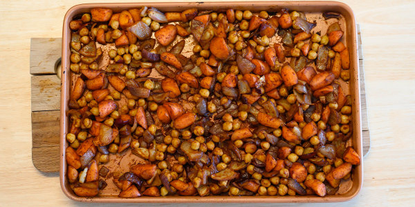Roasted Carrots, Chickpeas and Onions with Awaze Sauce