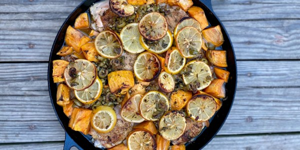 Herby, Lemony Skillet Chicken with Sweet Potatoes