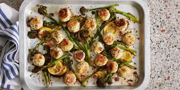 Baked Chicken and Ricotta Meatballs with Broccolini
