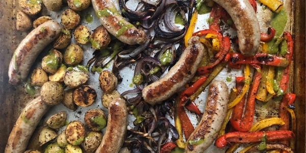 Sheet Pan Sausage and Peppers with Onions and Potatoes