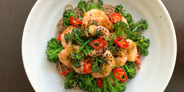 Ginger-Soy Shrimp with Broccolini and Soba Noodles