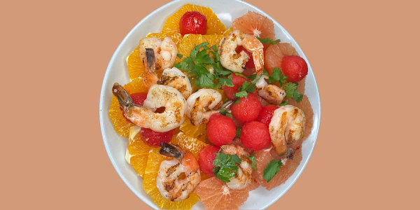 Citrus and Watermelon Salad with Spiced Shrimp