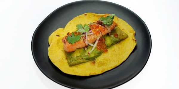 Grilled Miso Salmon Tacos with Avocado and Tomatillo Salsa