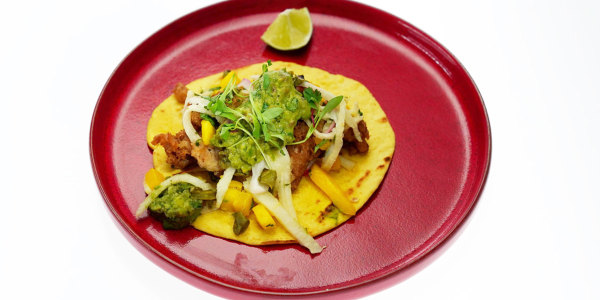 Five-Spice Beer-Battered Fish Tacos with Jicama-Mango Slaw