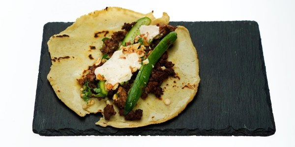 Ground Lamb Tacos with Cashews, Cucumber and Crema