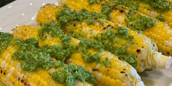 Grilled Corn with Broccoli Chimichurri