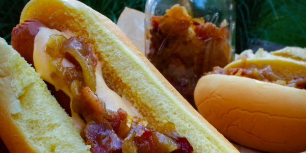 Bacon and Onion-Topped Hot Dogs