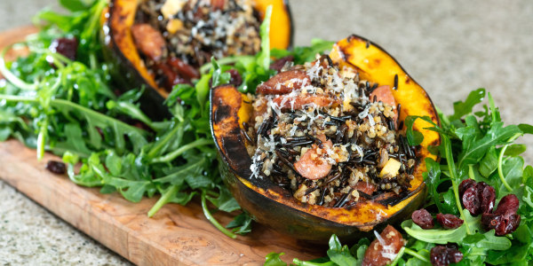 Stuffed Acorn Squash with Mixed Grains, Apples and Chorizo