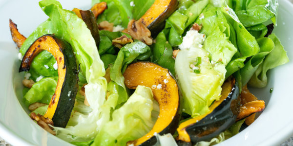 Bibb Lettuce and Roasted Acorn Squash Salad with Feta and Walnuts