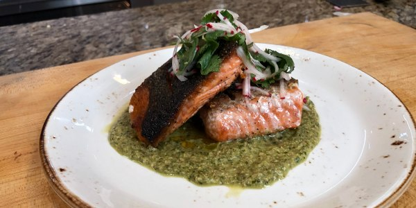 Aarón Sánchez's Seared Salmon with Pumpkin Seed Mole