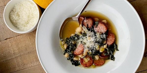 White Bean and Kale Soup with Smoky Kielbasa