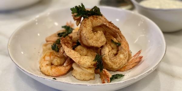 Bobby Flay's Fried Shrimp with Lemon Aioli