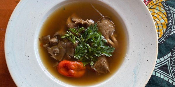 Chicken Neck Soup with Oyster Mushrooms