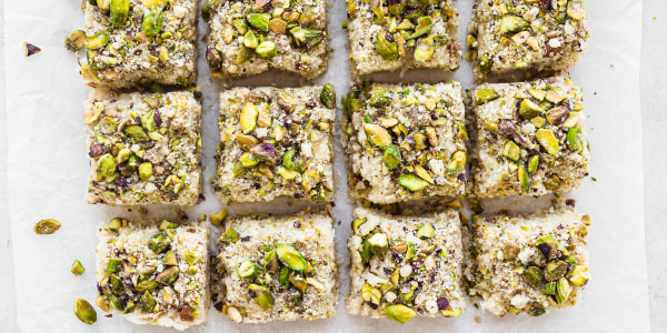 Coconut-Cardamom Barfi with Pistachio Crumble