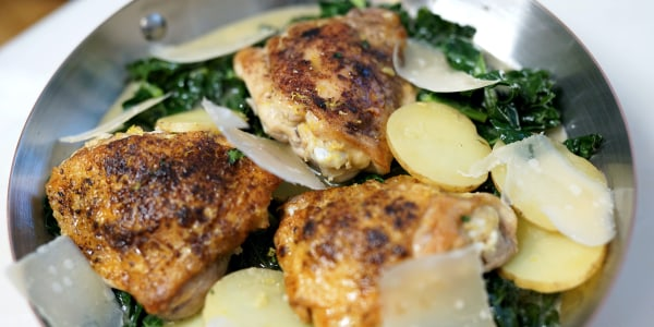 Dijon Chicken with Tuscan Kale, Yukon Potatoes and Parmesan