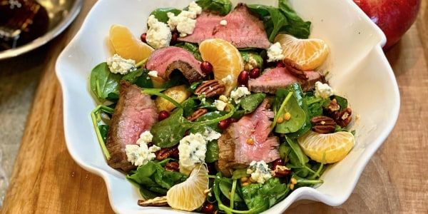 Lucky Greens and Steak Salad with Maple Balsamic Dressing