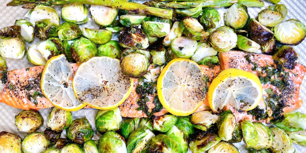 One-Pan Roasted Salmon, Asparagus and Brussels Sprouts