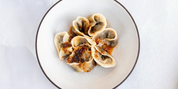 Chinese Sausage, Shiitake and Garlic Chive Dumplings