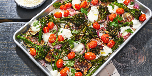 Eggplant with Tomato, Broccolini and Mozzarella